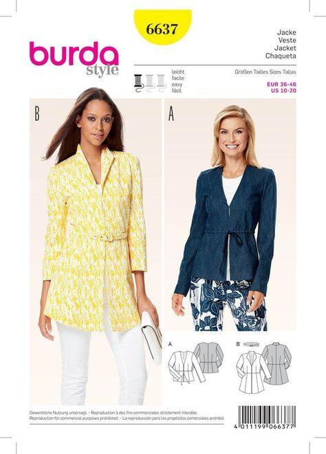 Woman's Fitted, Unlined Jacket, Drawstring Waist, Sizes 10 Through 20,  Burda Style Pattern 6637 - U