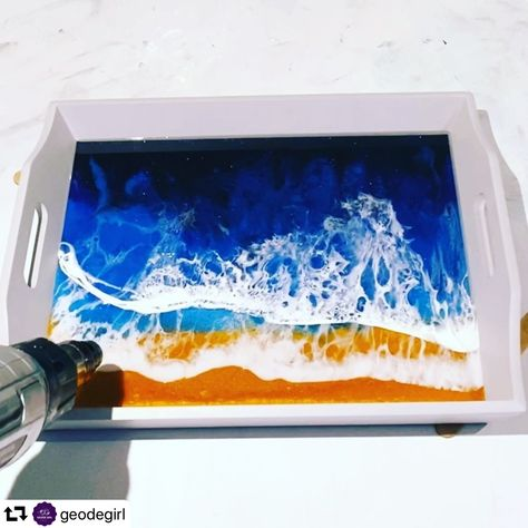 Beautiful Seascape Tray by @geodegirl created using only our products! So proud we can be your One Stop Shop 🥳 Our Premium Epoxy Resin is crystal clear, has high viscosity, touch dry in 4 hours and non toxic, ASTM certified 🤗 Plus lots of our Epoxy Pigment Pastes and glitters (we have over 60 shades to choose from!! 😊)  ・・・ .  Use discount code SPOOKY for 15% off everything 💃🏻💃🏻 . #resin #resinart #resinartpainting #geode #geodeart #geodeartist #epoxyresin #epoxyart