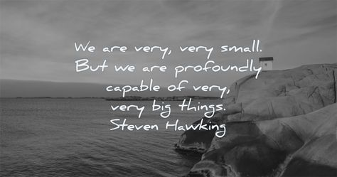 We are very, very small. But we are profoundly capable of very, very big things. Steven Hawking