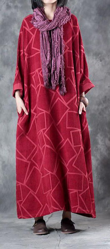 f5ba6f591a Beautiful linen clothes For Women Fine Linen Three Quarter Sleeve Geometry  Pattern Red Dress
