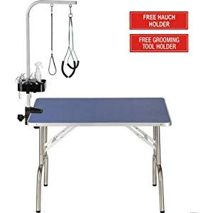 Itori Professional Grooming Table For Dogs And Pets Which Is Foldable And Durable With Adjustable Arm Stainless Leg Frame And Extra Hauch Holders 32 36 4 Equipo