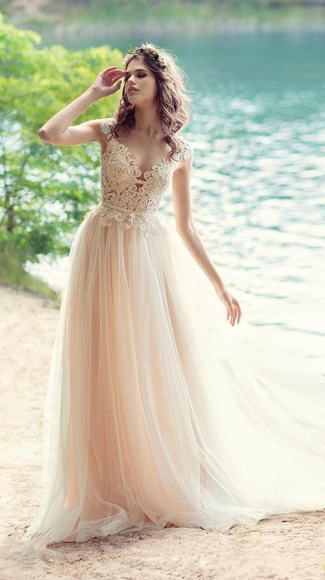 591339e8fde Blush Bohemian Beach Wedding Dress With Open V Back