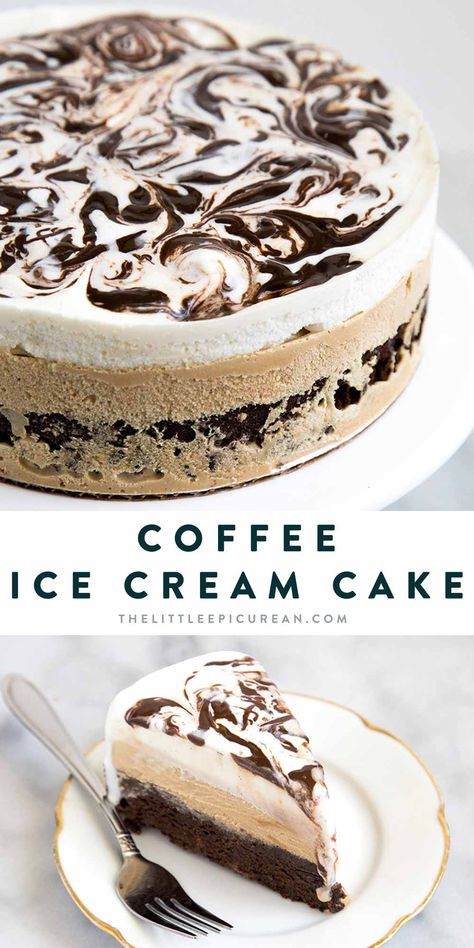 This decadent dessert starts with a brownie layer, ed by coffee ice cream and a layer of vanilla ice cream swirled with fudge. Ice Cream Treats, Ice Cream Desserts, Mini Desserts, Frozen Desserts, Ice Cream Recipes, Delicious Desserts, Dessert Recipes, Ice Cream Pies, Icecream Cake Recipes