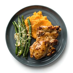 Glazed Chicken With Mashed Sweet Potatoes Sweet Potato Recipes Mashed Ginger Recipes Sweet Potato Recipes