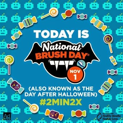 Today is #NationalBrushDay! Kids should brush their teeth for #2min2x a day! Visit www.2min2x.com for more info!