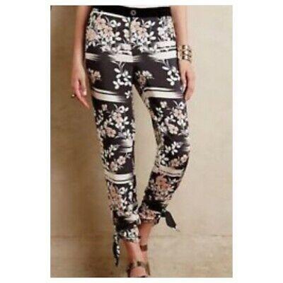 Anthropologie Elevenses Floral Jogger Pants Medium Black