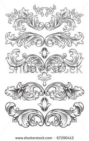 Filigran Ornamente Vorlagen Barock Muster Barock Tattoo