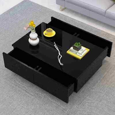 Modern Black High Gloss Coffee Tea Table With 4 Drawers Home
