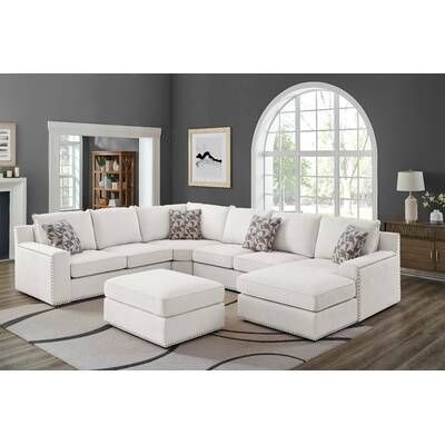Latitude Run Anacelis 89 Right Hand Facing Sectional Wayfair White Sectional Living Room Sectional Modular Sectional