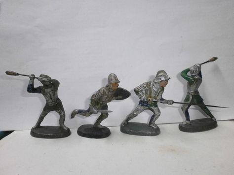 Konvolut 4 alte Hausser Elastolin Massefiguren Ritter silber/blau/grün zu 7cm