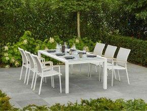 Tuinset Met Glazen Tafel.Tuinset Glazen Tafel Met Witte Aluminium Tuinstoelen