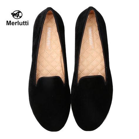 Merlutti Plain Black Suede Loafers