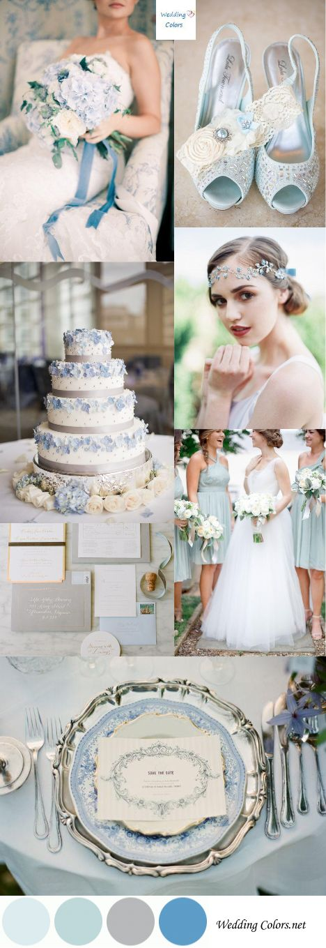 Blue and White Wedding Ideas - Wedding Color Inspiration|Pastel Blue, Grey & White