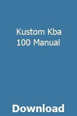 Kustom Kba 100 Manual Manual Kustom Scrambler Custom