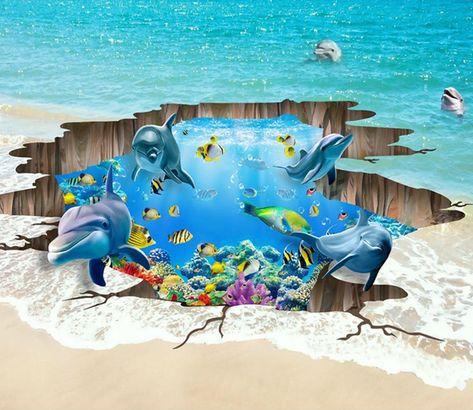 3D Ocean Hole Floor Mural | AJ Wallpaper