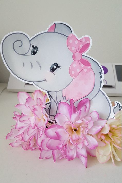 Elephant cut out, Elephant Baby Shower girl, Pink elephant baby shower, its a girl, Baby girl baby shower