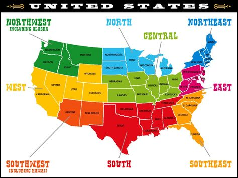 US Regions Map United States Of America Wikitravel Us Map - Regions of us map