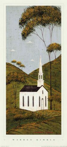 Country Panel I, Church by Warren Kimble