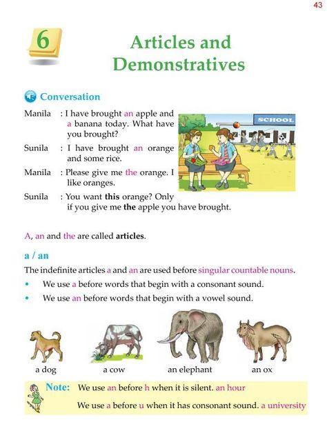 4th Grade Grammar Articles and Demonstratives