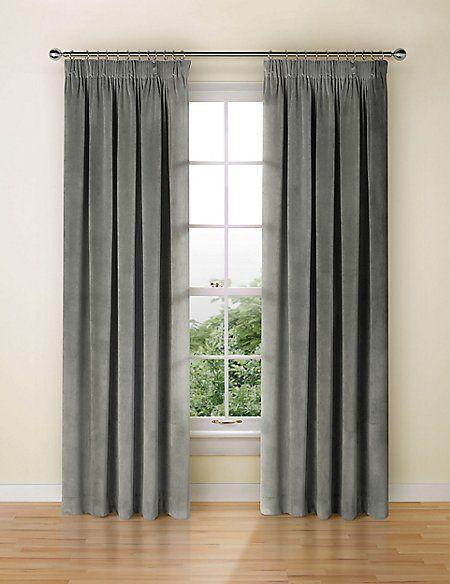 Velvet Pencil Pleat Curtain Pencil Pleat Curtains Ready Made Pleated Curtains