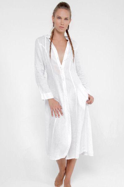 518f201b41e White Linen Sailor Dress. White Linen Sailor Dress. Más información. 100% Linen  Collared Golf Dress With Hidden Pockets ...