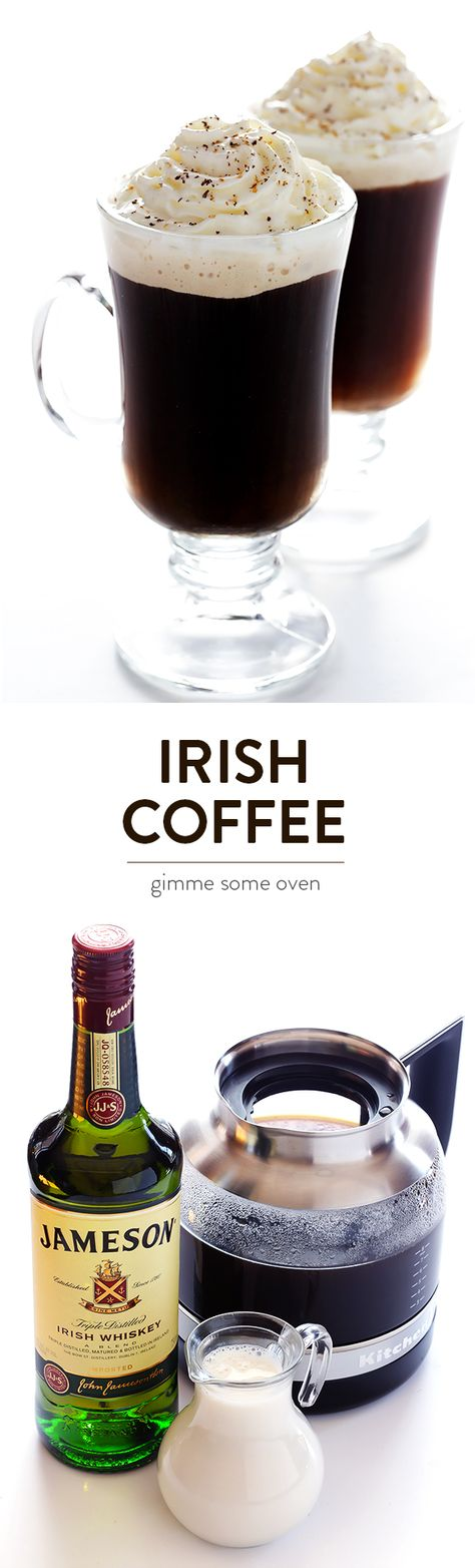 Learn how to make homemade Irish Coffee with this simple 3-ingredient recipe.  So easy to make, and always a favorite. | gimmesomeoven.com