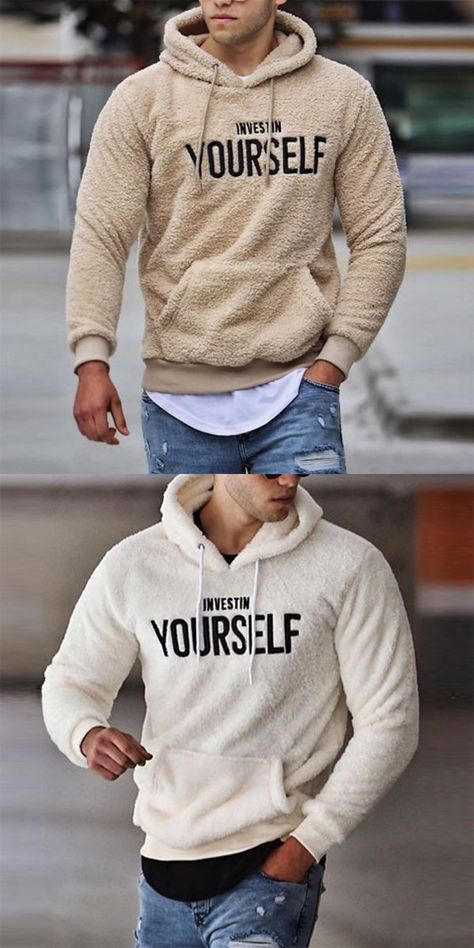 Men's Casual Fluff Letter Hooded Sweatshirt Men's Casual Fluff Letter Hooded Sweatshirt,Kleidung Men's fashion ethnic style hooded long sleeve sweatshirt. Chic retro design with special colorblock as well as provides you a comfy feeling.