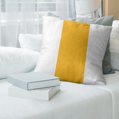 East Urban Home Pittsburgh Hockey Striped Pillow Cover Color White Pittsburgh Gold Size 14 X 14 In 2020 Suede Pillows Football Throw Pillow Stripe Throw Pillow