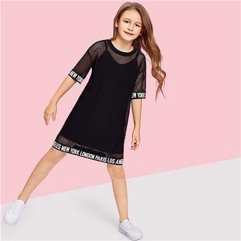 Product name: Girls Letter Hem Mesh Sheer Dress at SHEIN, Category: Girls Dresses