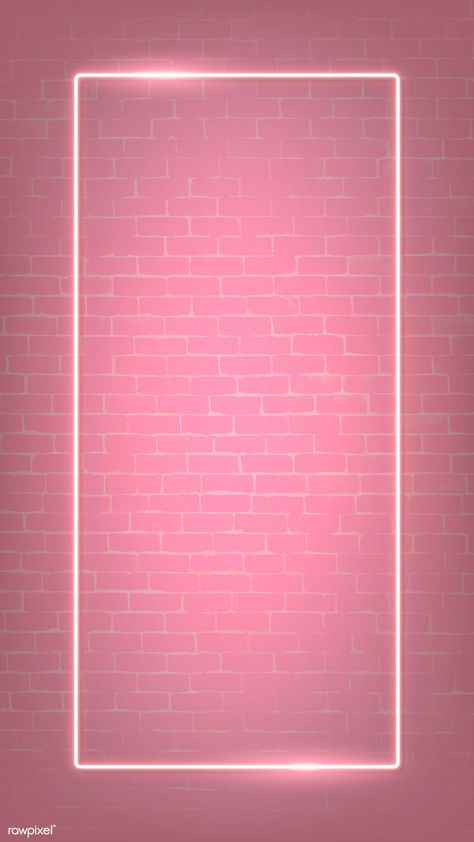 Rectangle pink neon frame on a pink brick wall vector | premium image by rawpixel.com / manotang