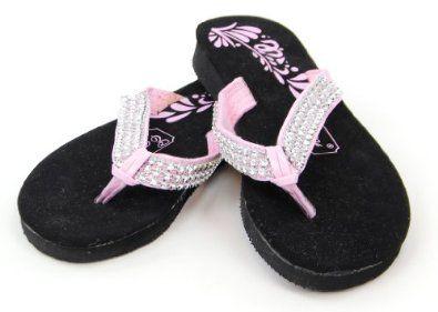 Genesis Rhinestone Foam and Suede Flip-Flop for Big Kids Shoe Color: Black  with