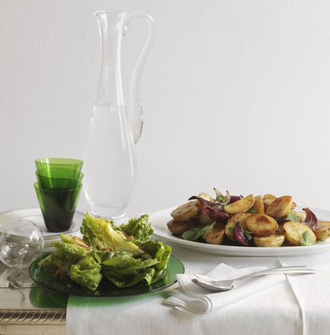 Warm potato and mint salad with mustard dressing