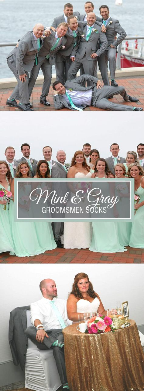 Thanks to Amy Hanston for these amazing wedding photos!  Our customers love coming to boldSOCKS.com to find their perfect match! Amy chose a mint and gray themed wedding, pairing it with the perfect boldSOCKS set for her groom and groomsmen. #springwedding #mint #mintwedding #weddingideas #groomsmensocks #weddingsocks photo credit: Roger Dubuque