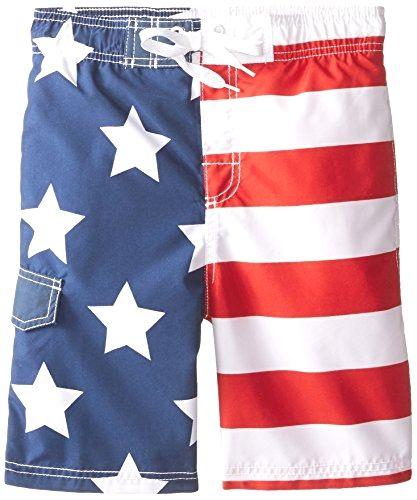Boys Swim Board Trunk Shorts American Flag Size 10//12