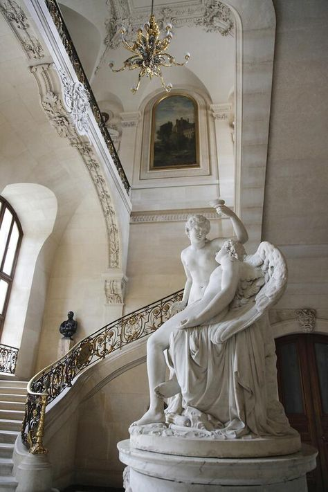 Musée du Louvre, Escalier du Ministre, aile Richelieu I love this sculpture Art Et Architecture, Beautiful Architecture, Architecture Details, Rococo, Baroque, Statues, Louvre Paris, The Louvre, Art Museum