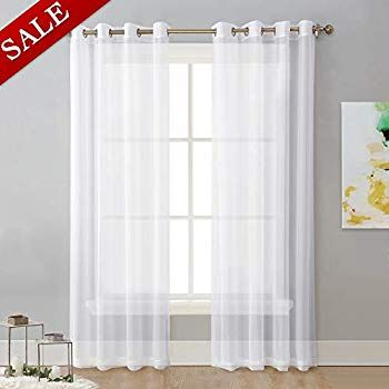 Amazon Com Deconovo White Sheer Curtains 96 Wave Line With Dots