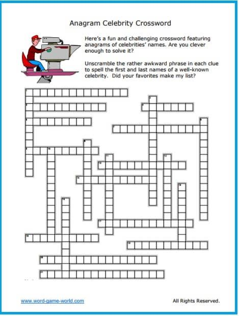 photo relating to Printable Celebrity Crossword Puzzles called Anagram Crossword : Superstars! Crossword Puzzles for