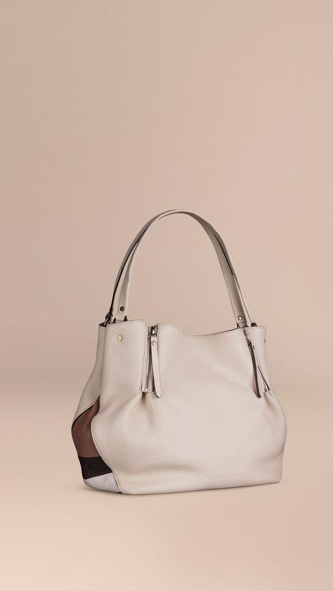 Bolso tote mediano en piel con detalles de checks Blanco | Burberry