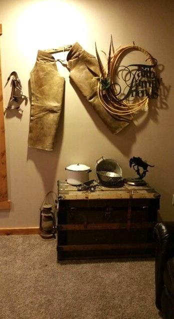 Western Wall Decor With Chaps Spurs And Rope In 2020 Western Wall Decor Vintage Western Decor Western Home Decor