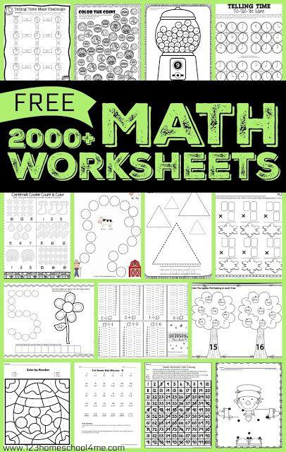 2000 Free Math Worksheets For Preschool Kindergarten First Grade 2nd Grade 3rd Grade Free Printable Math Worksheets Free Math Worksheets Math Worksheets