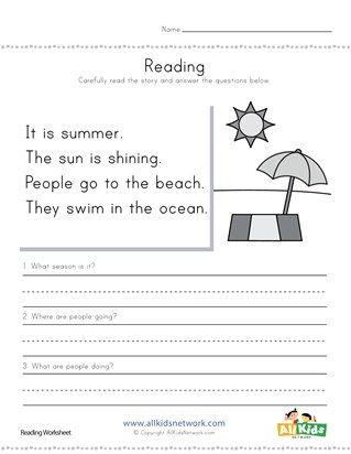 Summer Worksheets With Images Summer Worksheets Comprehension
