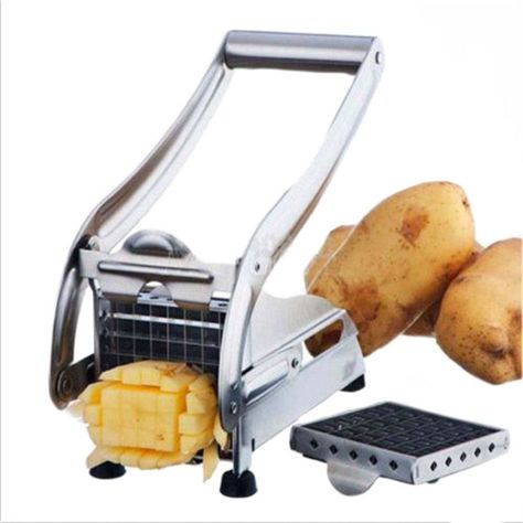 Stainless Steel Home French Fries Potato Strip Cutting Cutter Chopper Chips Making Tool Cutting Fries + 2 Blades