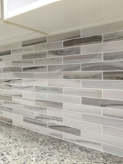 Modern White Gray Subway Marble Backsplash Tile Kitchen Colors