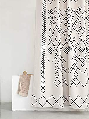 Amazon Com Yokii Boho Moroccan Fabric Shower Curtain Tribal Beige Geometric Trellis Polyester B In 2020 Geometric Shower Curtain Long Shower Curtains Moroccan Fabric