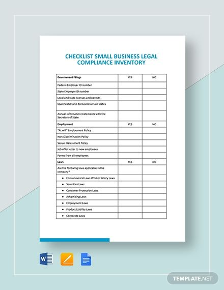 Free Checklist Small Business Legal Compliance Inventory Template Google Docs Word Template Net Checklist Template Templates Webpage Template
