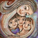 mother, woman, mother and children, 3 three children, girl, daughter, sister, brother, siblings, heart, mothers day gift, mother's day present, woman, warm, emotion, love, long hair, brown hair, red, orange, yellow, white, skin, figure, nude, naked, blue