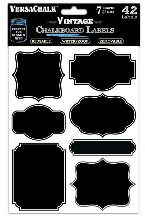 Free Shipping 42 Vintage Black Vinyl Chalkboard Kitchen Pantry Labels for Can..