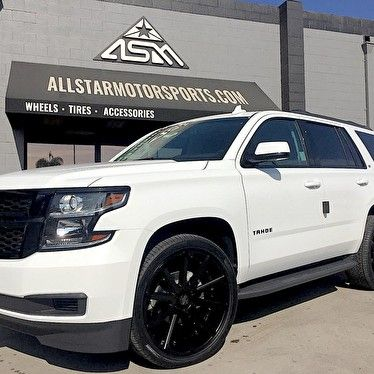 Puente Hills Chevrolet Blackout Package On Chevy Tahoe With 24 Inch Versante Wheels Chevy Tahoe Tire Accessories Chevy