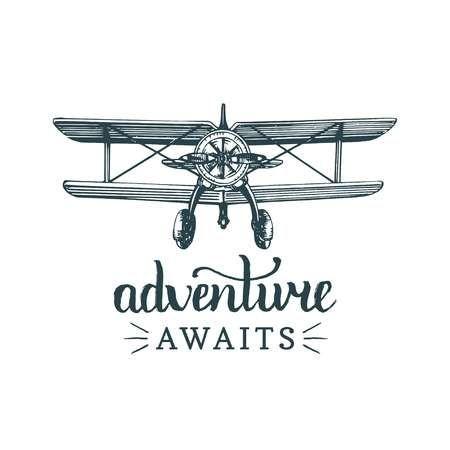 Adventure Awaits Motivational Quote Vintage Retro Airplane Logo Vector Vintage Planes Poster Vintage Retro Vintage Airplanes