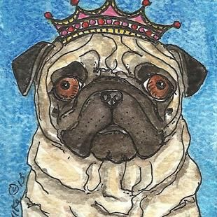Art Pugman King Of Hearts By Artist Melinda Dalke Dog Art